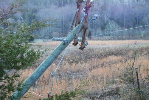 Downed power pole.
